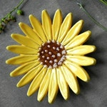 Sunflower Ceramic Ring Dish, Flower Pottery, Jewelry Plate,  Home Decoration, Yellow with Brown Trinket Dish, Christmas Gift for Her