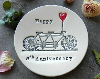 Pottery Anniversary, Personalized Bicycle Love Plate, 9th Anniversary Gift, Tandem and Heart Ceramic Ring Dish Ivory Ring Pillow