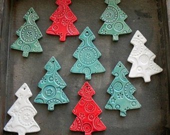 ceramic christmas tree ornaments white ceramic tree pottery mint tree red christmas decoration lots of lace ceramic winter home decoration - Ceramic Christmas Ornaments