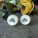 Personalized Men Cuff Links, Bikers Novelty Gift, Explorer Porcelain Cuff Links, Outdoor Lover Gift, Father Boss Coworker Black Bike Pottery