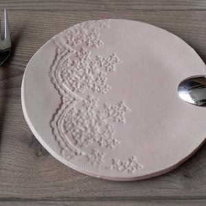 Cherry Blossom Ceramic Side Plate Pink Brown Pastel  Dessert Plate Unique Rustic Hand Bild Ceramic Serving Plate