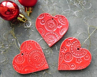 Red Heart Christmas Ornaments, Red Lace Heart Ceramic, 3 Winter Home Decoration, Christmas Tree Decor, Heart Home Decor, Christmas Gifts