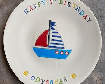 Birthday Boy, Personalized Ceramic Plate for Boys, Ship, Tractor, Car, Cake Custom Dessert Plate, 1st Birthday Gift