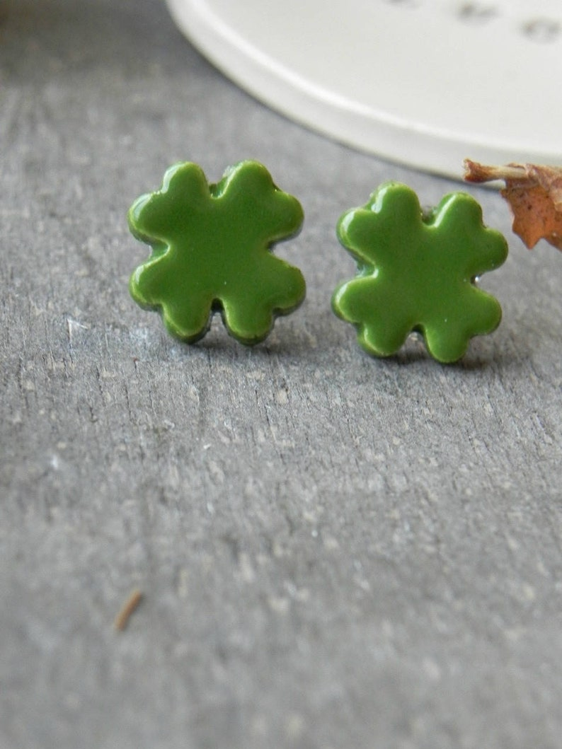 Lucky Earrings Four Leaf Clover Porcelain Stud Earrings image 0