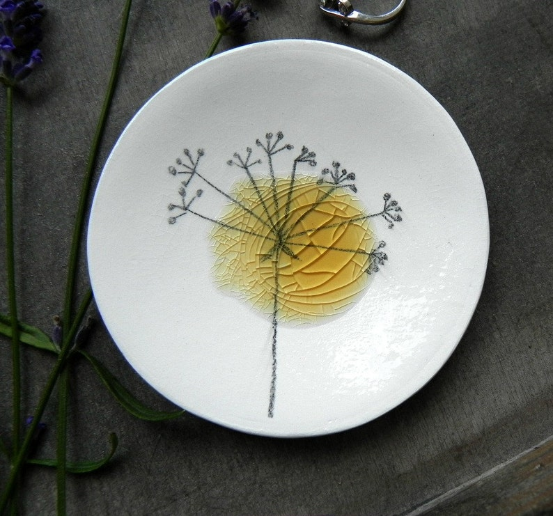 Porcelain White Ring Dish Recycled Glass OOAK Flower Ceramic image 0
