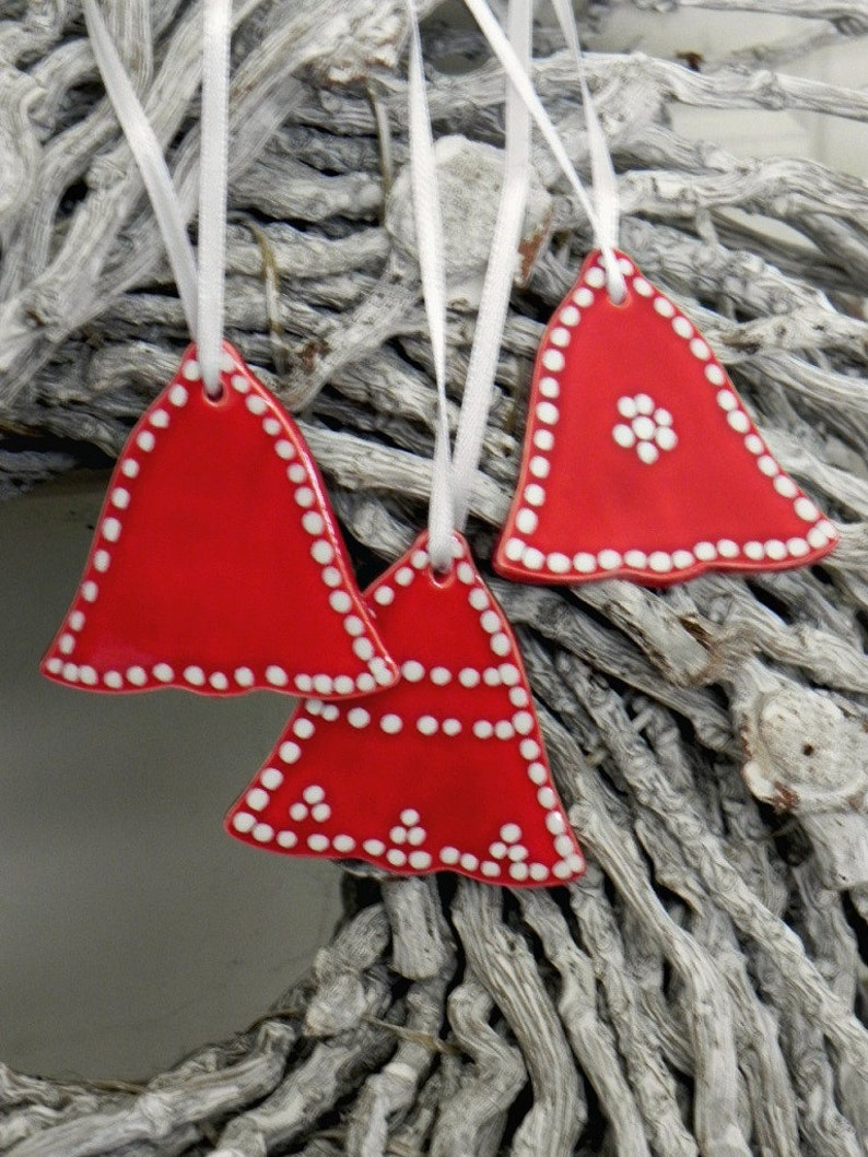 Red Ceramic Christmas Ornaments Red Bell Winter Home image 0
