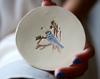 Ceramic Jewelry Dish White  Little Blue Bird Dish Colorful Home Decor Pottery Plate Recycled Box