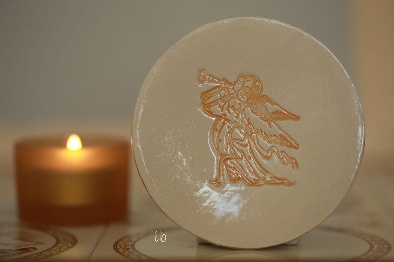 Angel Ceramic Plate Religious Christmas Gift Pottery Ring image 0