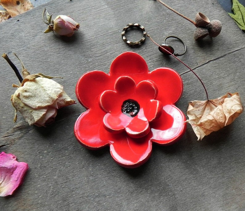 Poppy Ceramic Ring Dish Really Red Flower Home Decor image 0