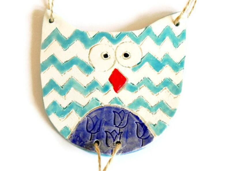 Owl Ornament Chevron Pattern Ceramic Eco Friendly Woodland image 0