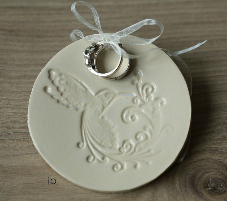 Wedding Hummingbird Trinket Dish Ceramic Bird Ring Dish image 0