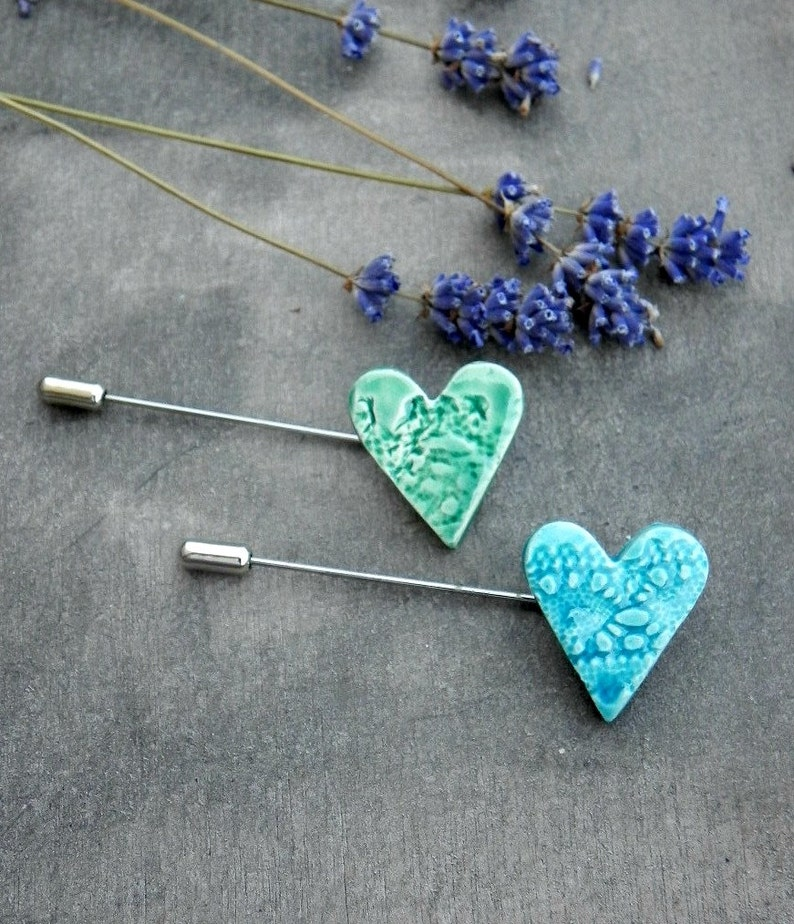 Lace Heart Brooch Pottery Jewelry Ceramic Pin image 0