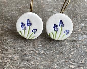 Ceramic Lavender Dangle Earrings, Porcelain Purple Flower Earrings