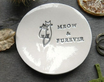Engagement Ring Holder, Cat Personalized  Ceramic Plate, Wedding Ring Dish, Meow & Furever Anniversary Ring Pillow, Custom Ring Dish Pottery