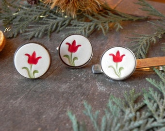 Porcelain Wedding Cuff Links and Tie Pin, Red Tulip Novelty Gift,  Garden Lover Gift, Father Boss Coworker Accessories,