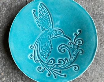Turquoise Ceramic Ring Dish, Hummingbird Bird Caribbean Blue Plate, Bird Jewelry Dish, Ring Holder Home Decoration Pottery