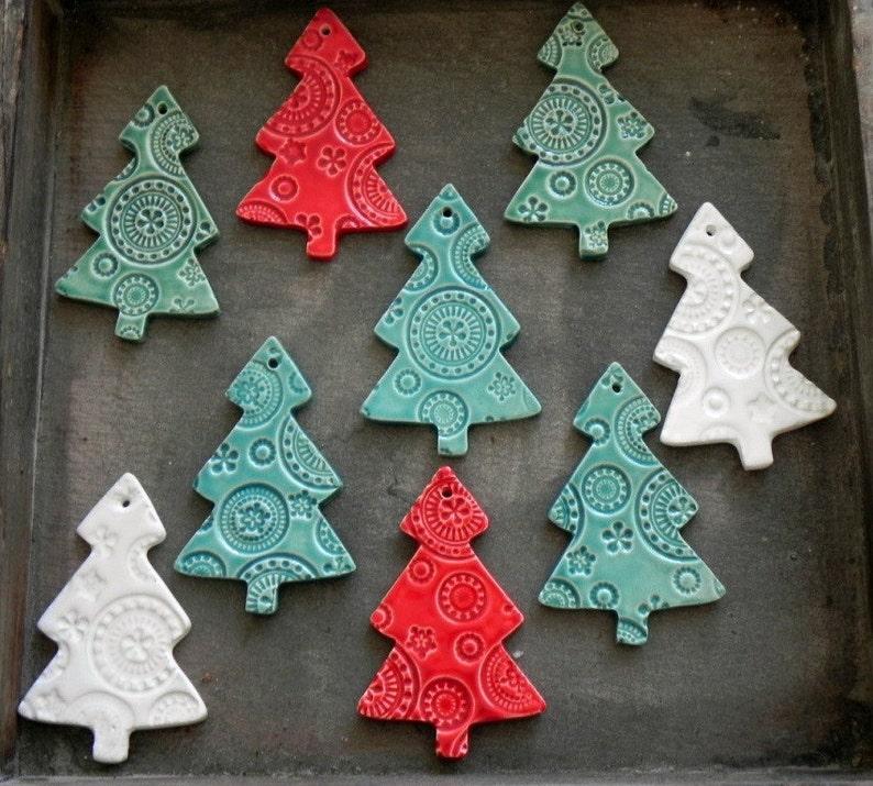 Ceramic Christmas Tree Ornaments White Ceramic tree Pottery image 0