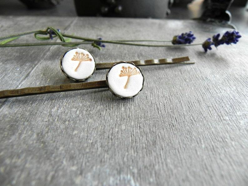 Porcelain Dandelion Bobby Pins Boho Ceramic Hair Pins Set of image 0