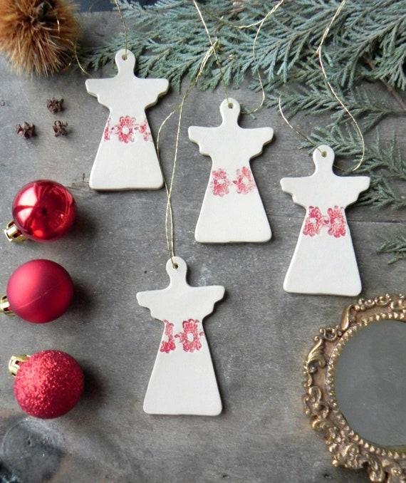 Nordic Grey Painted Wood Angel Christmas Decoration Christmas Angel 7cm x 6cm