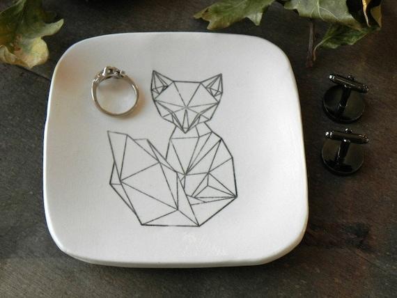 Geometric Fox Trinket Dish Ceramic Plate Black And White