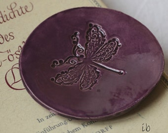 Purple Dragonfly Plate  Ceramic Ring Dish Eco Friendly Pottery Plate