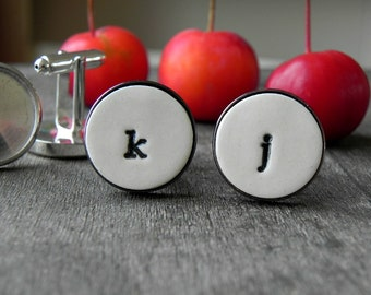 Personalized Cuff Links, Wedding Monogrammed Lower Case Cuff Links, Father of the Bride Gift Groom Best Man Groomsmen Custom Cuff Links