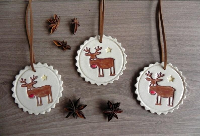 Christmas Deer Ceramic Ornaments Rudolf Holiday Pottery Gift image 0