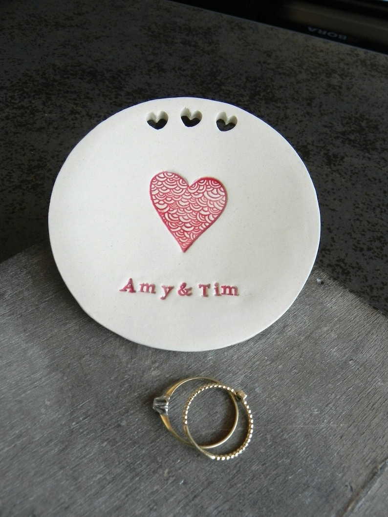 Personalized Red Heart Ceramic Ring Dish Custom Trinket Dish image 0