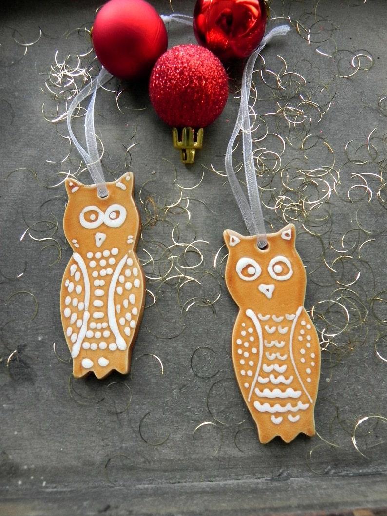 2 Owl Ceramic Christmas ornament Woodland Ornaments Caramel image 0