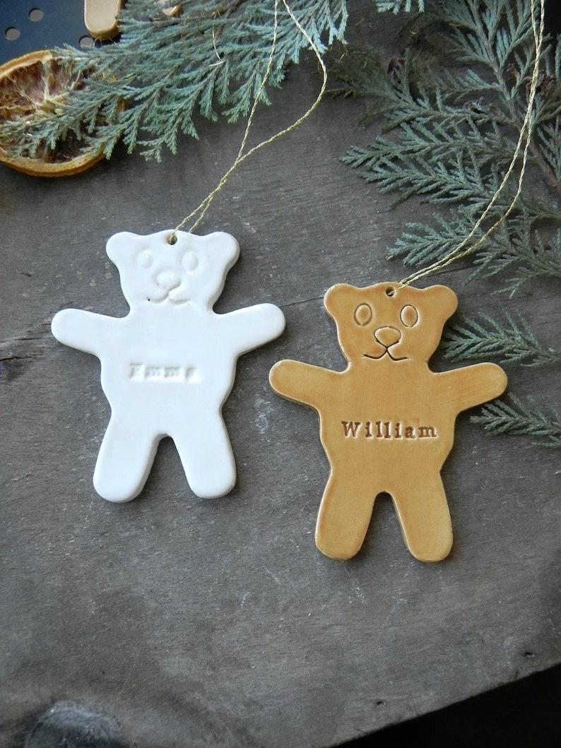Personalized Bear Christmas Ornament Polar Bear Ceramic image 0