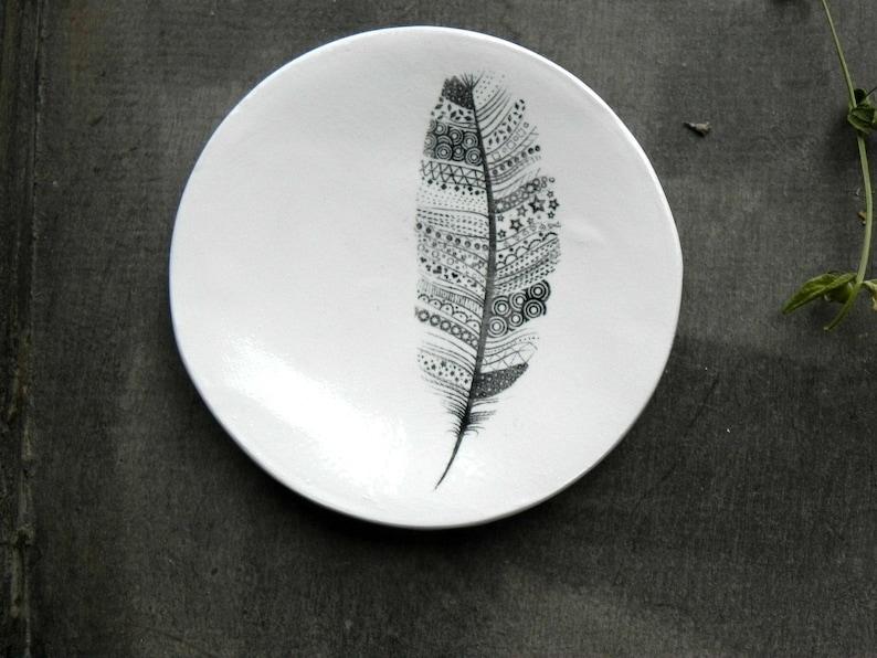 Feather Porcelain Ring DishZentangle Art Black White Ceramic image 0