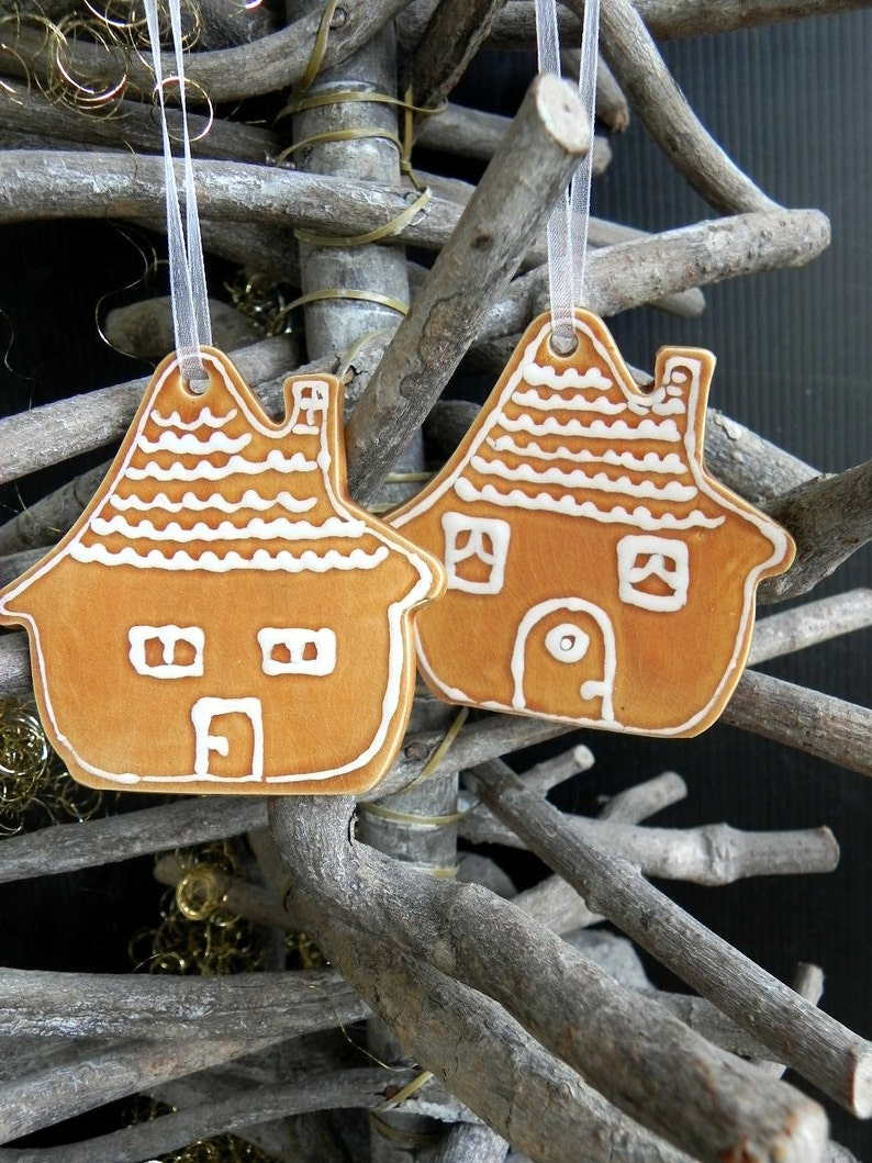Christmas ornament Set of 2 House Xmas Ornaments home pottery image 0