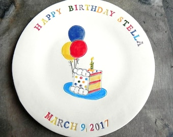 Personalized Ceramic Birthday Cake Plate, Custom Colorful Dessert Plate for Kids and Adults, Hand Built Ceramic Plate , Birthday Gift