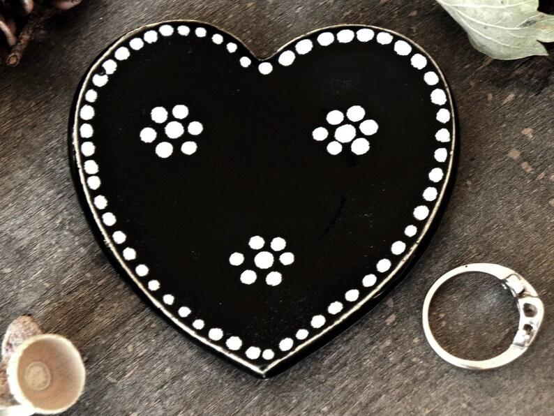 Black Ceramic Heart Jewelry Dish Black and White Halloween image 0