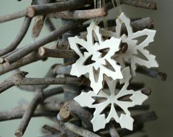 White Snowflake Christmas Ornaments, Snow White Pottery Gift, Xmas Home Decoration, 3 Christmas Tree Decor, Xmas Gift Ideas, Gifts for her