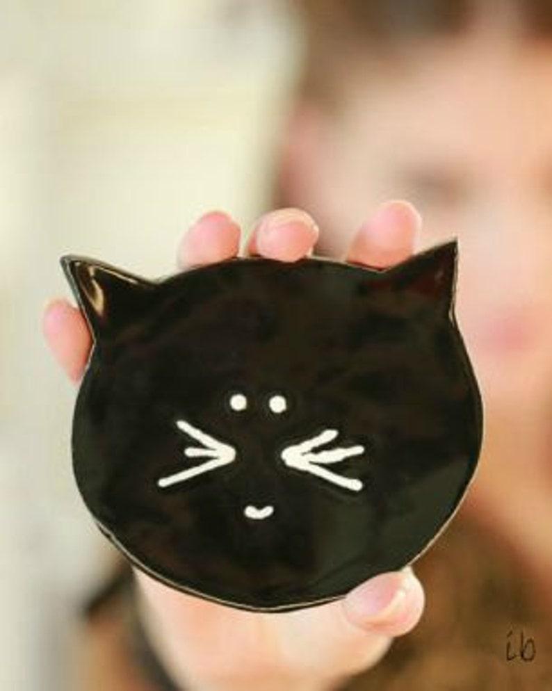 Black Cat Halloween Ceramic Plate Minimalist Kitty Pottery image 0
