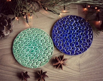 Ceramic Coasters Mint and Royal Blue Pebble Pattern Set of 2