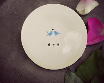 Personalized Blue Bird Ring Holder, Wedding Gift, Custom Engagement Ring Dish, Little Bird Hand Painted Ceramic  Plate, Anniversary Plate