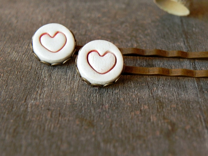 2 Ceramic Bobby Pins Red Heart  White Porcelain Antique Bronze image 0