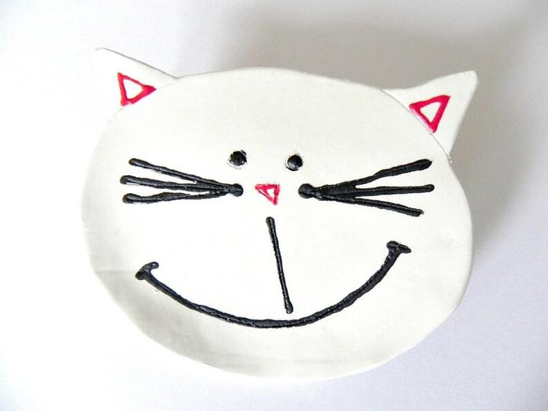 Valentine's Day Cat Ceramic Plate White Kitty Dish Animal image 0