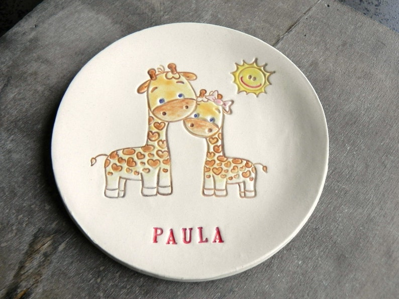 Baby Gift Personalized Baby and Mother Ceramic Plate Little image 0