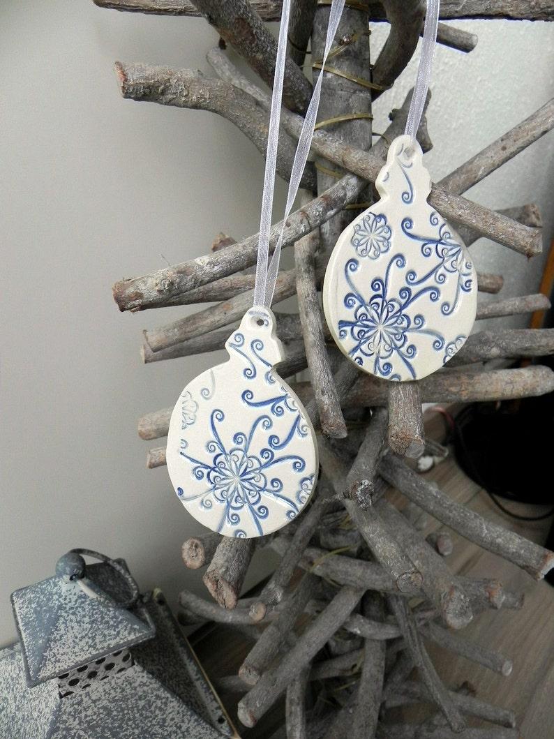 Christmas Ceramic Snowflake Ornament 2 White Blue Lace image 0
