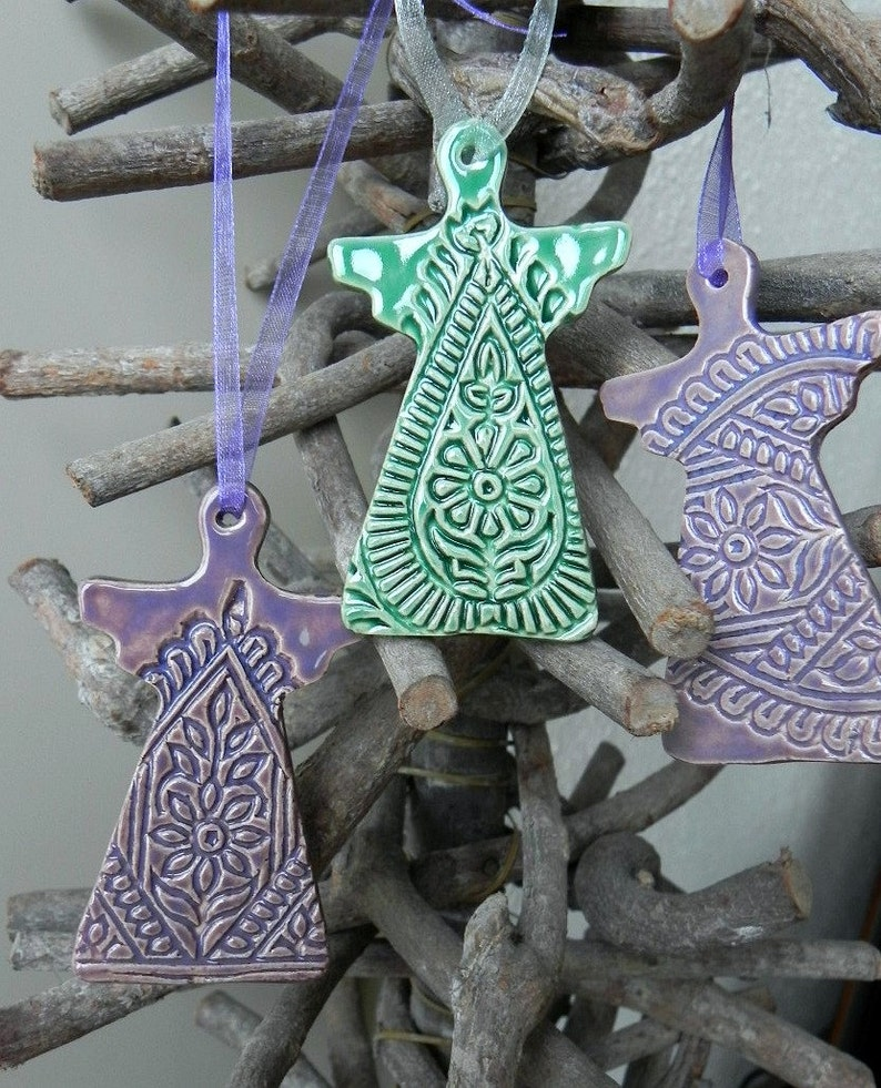 Pottery Ornaments Paisley Lace Angel Ceramic Christmas image 0