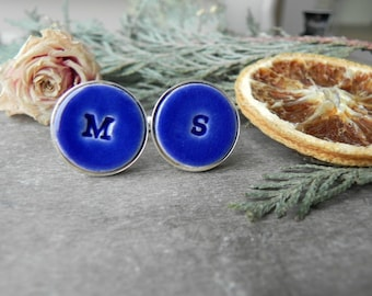 Blue Personalized Cuff Links, Wedding Monogrammed Cuff Links, Father of the Bride Gift, Best Men, Groomsmen Custom Cuff Links