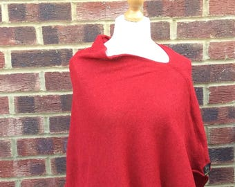 Red Wool Knitted  Poncho for Woman .Spring Holidays Fashion .Asymmetric Wool Cape Coat .Scarlet Red Wrap Shawl. Confirmation Cape.