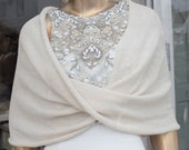 Bridal Ivory Loop Bolero . Wedding Warm Knit Wrap Sweater . Skin Friendly Bridesmaid infinity shrug . Mother of the bride Shoulder Cover up