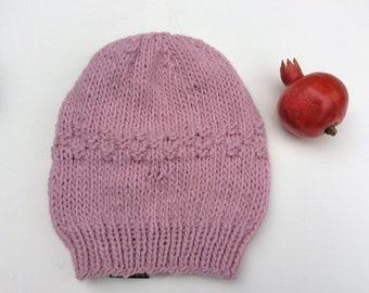 e91efe7a9e52 Alpaga Bonnet en tricot rose blush encombrant. Grosse Rose bonnet Slouchy.  Bonnet de Ski l hiver. Cadeau pour sœur féministe