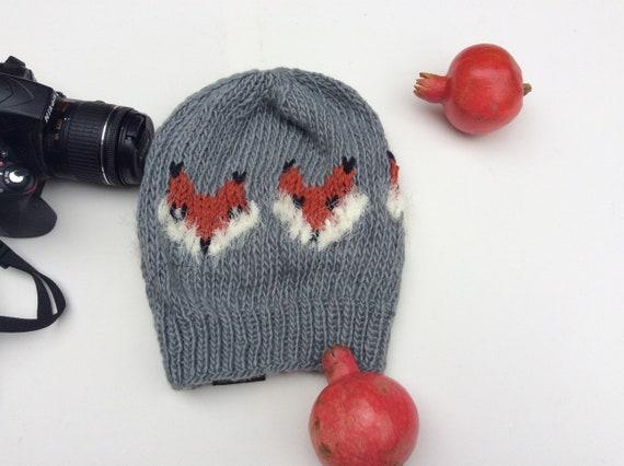 421f2fae4ba Handknit Vegan Fox Hat Beanie . Winter Warm Ski Hat Present