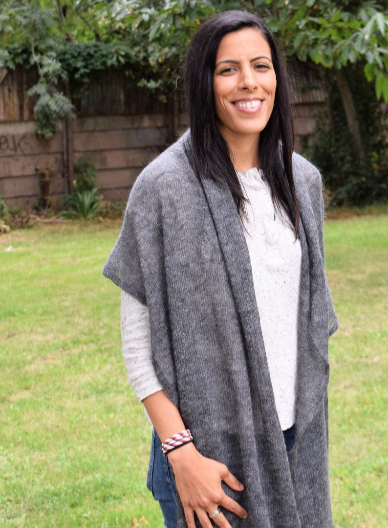 Extra Large Travel Wrap Luxury Scarf Present for grandmother Auntie Rehearsal Dinner Silver  Grey Stole Oversized Mohair Knit Scarf
