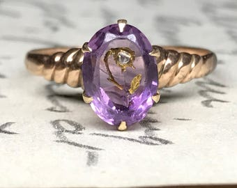Amethyst and Diamond Rose of Sharon Ring - 10k Yellow Gold Flower Engagement Ring